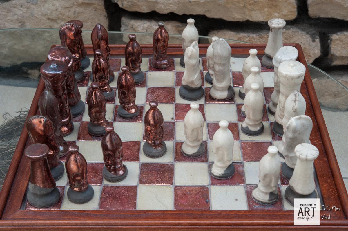 Unique Raku Chess Set Copper Vs White Ceramic Art